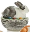 Mosser Glass 412BBLWA Bunny on Basket Rabbit 412 Black and White Decorated