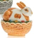 Mosser Glass 412BBRWA Bunny on Basket Rabbit 412 Brown and White Decorated