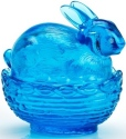 Mosser Glass 412BColonialBlue Bunny on Basket Rabbit 412 Colonial Blue