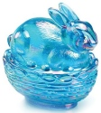 Mosser Glass 412BColonialBlueCarn Bunny on Basket Rabbit 412 Colonial Blue Carnival