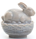 Mosser Glass 412BMarble Bunny on Basket Rabbit 412 Marble
