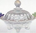 Mosser Glass 915CCCrystalOpal Footed Set 915 Covered Candy Bowl Crystal Opal