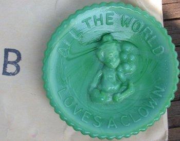 Special Sale PeeWeePlateB Mosser Glass Pee Wee Plate B Green Milk Clown Plate