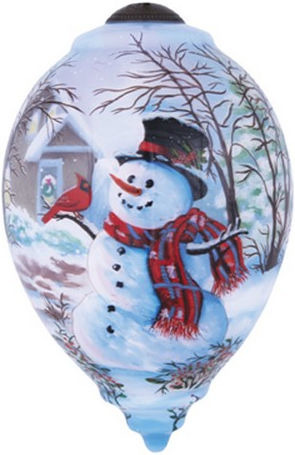 Ne'Qwa Art 7141111 Snowman and Cardinal Ornament