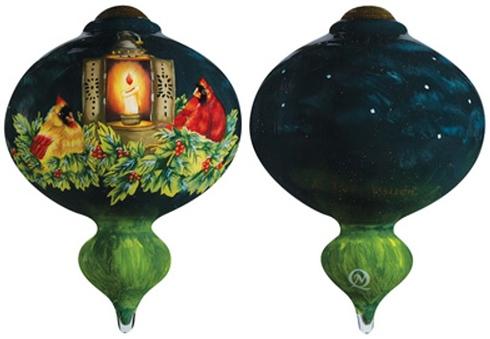 Ne'Qwa Art 7161167 Cardinals In Candlelight Ornament