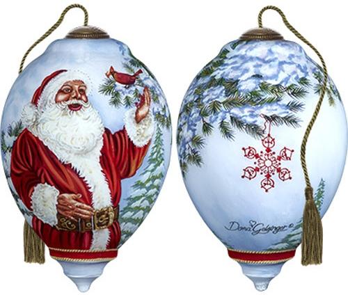 Ne'Qwa Art 7171123 Santa's Feathered Friend Ornament