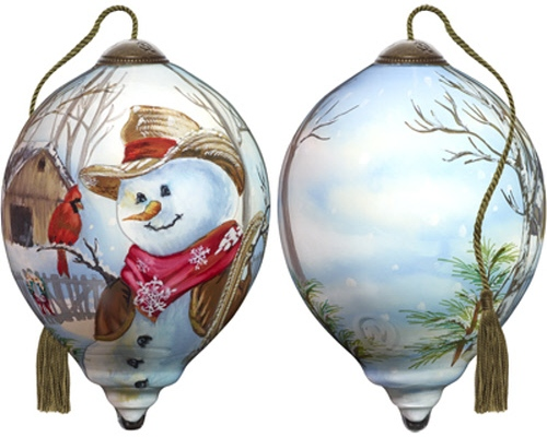 Ne'Qwa Art 7181114 Western Winter Snowman Ornament