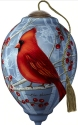 Ne'Qwa Art 7201158 Cardinal With Berries And Buffalo Plaid Ornament