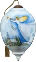 Ne'Qwa Art 7211101 Snowy Angel Flying Above Church Ornament