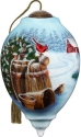 Ne'Qwa Art 7211123 Cardinal Couple On Winter Barrel Ornament