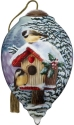 Ne'Qwa Art 7211132 Winter Birdhouse With Two Chickadees Ornament