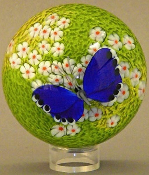 Orient and Flume 2416B Butterfly Blue Cased Paperweight