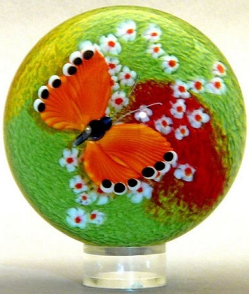Orient and Flume 2416O Butterfly Orange Cased Paperweight