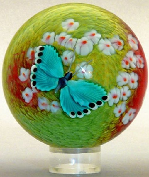 Orient and Flume 2416T Butterfly Teal Cased Paperweight