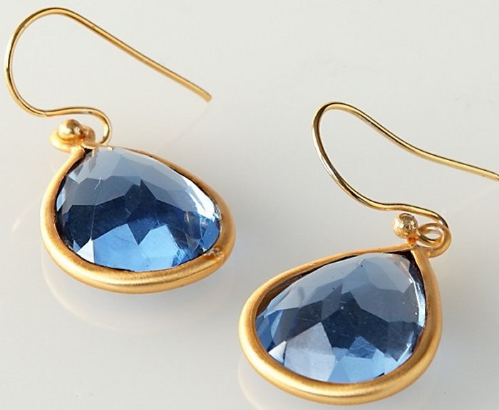 Special Sale 4032777 OTM 4032777 Sapphire Glass and Brass Goldtone Earrings