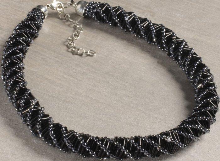 Special Sale 4037807 OTM 4037807 Necklace Black & Silver Glass Beads Brass