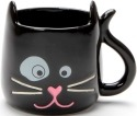 Our Name is Mud 6001225 Black Sculpted Cat Mug