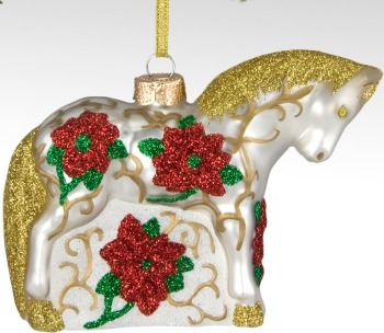 Trail of Painted Ponies 4022985 Poinsettia Pony Ornament Horse Ornament