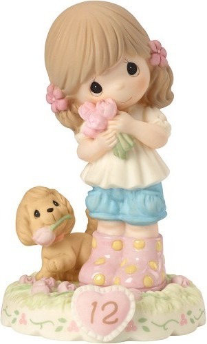 Precious Moments 162011B Girl with Puppy and Flowers Age 12 Figurine
