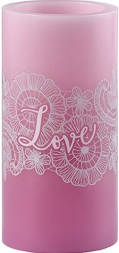 Precious Moments 172462 Pink 6in Pillar Candle LED