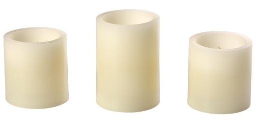 Precious Moments 173404 Ivory LED Pillar Candle Set of 3