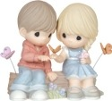 Precious Moments 144010 Seated Couple on Log with Butterflies Figurine