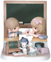 Precious Moments 151055 Girl and Boy Sitting at Chalkboard Figurine LE