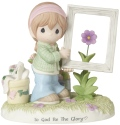 Precious Moments 182013 Girl Holding Frame Around Flower Figurine