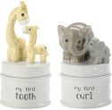 Precious Moments 182401 Elephant and Giraffe My First Tooth Curl Covered Box