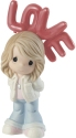Precious Moments 202001D Girl Holding Red LOVE Balloons Figurine Brunette Hair