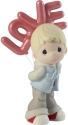 Precious Moments 202002D Boy Holding Red LOVE Balloons Figurine Brunette Hair