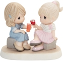 Precious Moments 202014D Two Friends Toasting Figurine Brunette With Medium Skin Tone