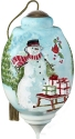 Precious Moments 7201103D Ltd Ed Wintery House And Snowman In Woods Ornament