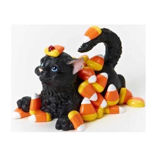Charming Purrsonalities 4022702 Cat & Candy Corn Figurine
