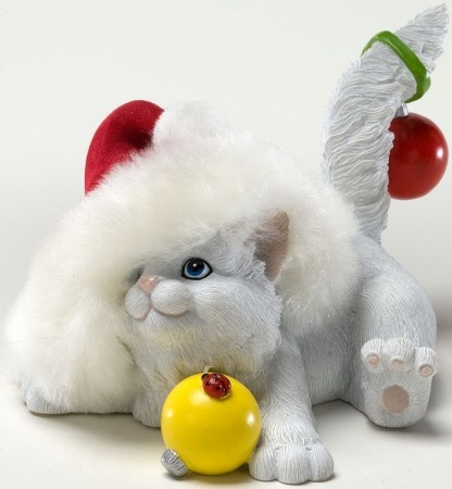 Charming Purrsonalities 4022706 Cat with Christmas Hat Figurine