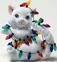 Charming Purrsonalities 4022709 Cat with Christmas Lights Figurine