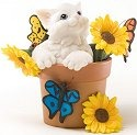 Charming Purrsonalities 4025974 Cat in Sunflower Pot Figurine