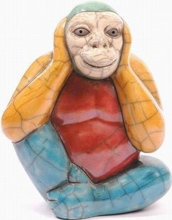 Raku South Africa M102 Monkey Hear No Evil Large