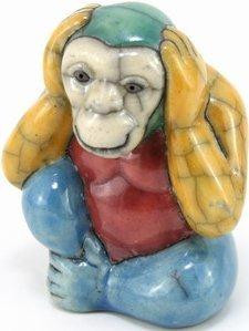 Raku South Africa M80 Monkey Hear No Evil Small