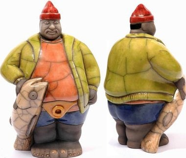 Raku South Africa PB37 Mr Potbelly Fisherman