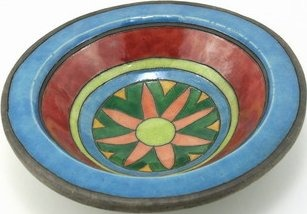 Raku South Africa R4 Rim Bowl with Ethnic Design Medium