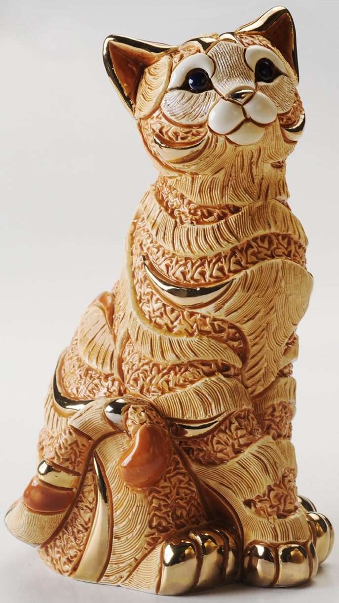 Artesania Rinconada 1035O Striped Cat Hand Carved Painted Ceramic w 24kt Gold & Platinum Made in Uruguay $144.99