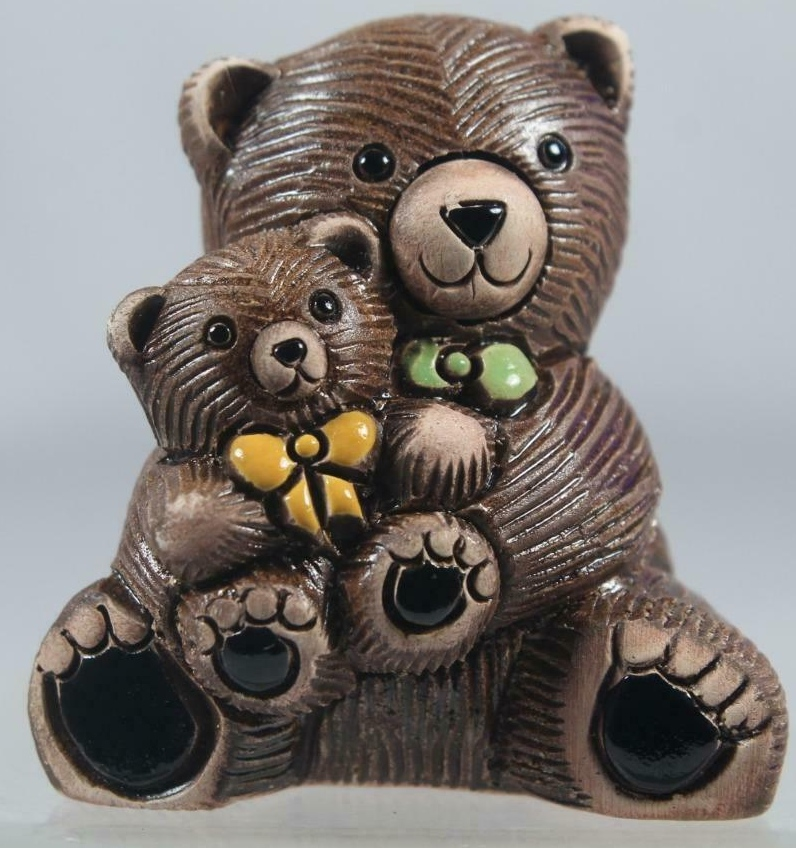 De Rosa Collections 327A Teddy Bear with Baby Yellow Green Bowties
