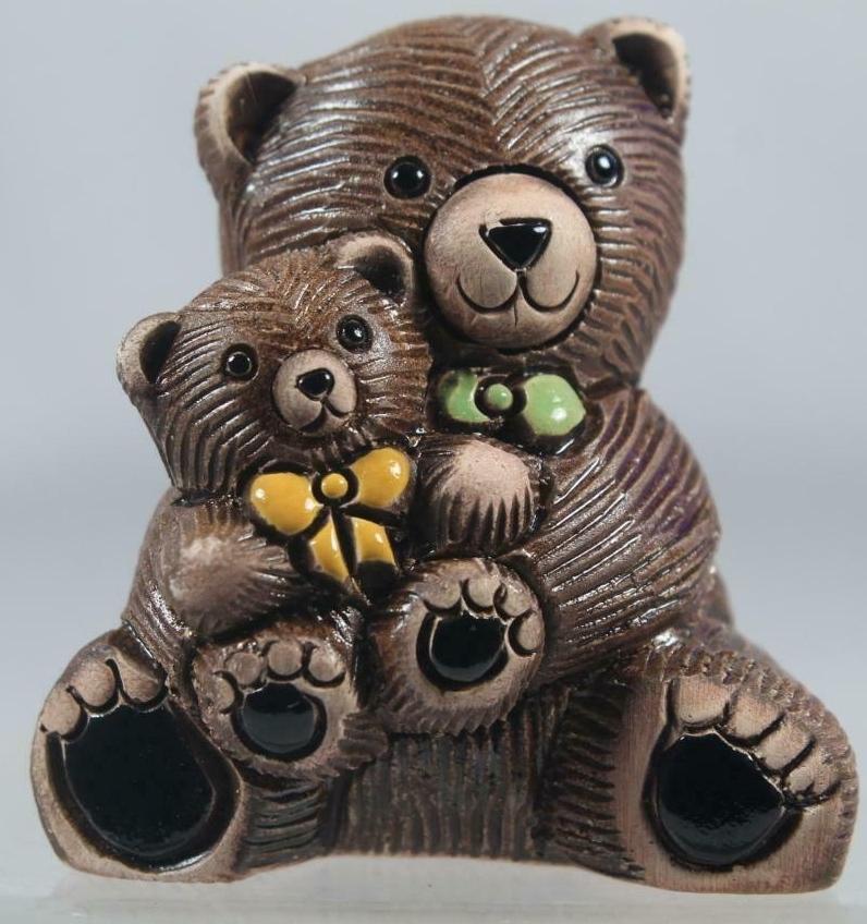 Artesania Rinconada 327A Teddy Bear with Baby Yellow Green Bowties
