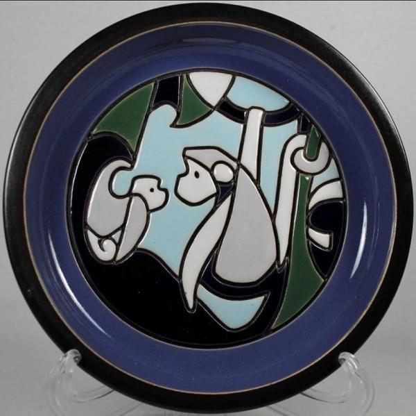 De Rosa Collections 509-2 Monkey Blue Large Plate RARE