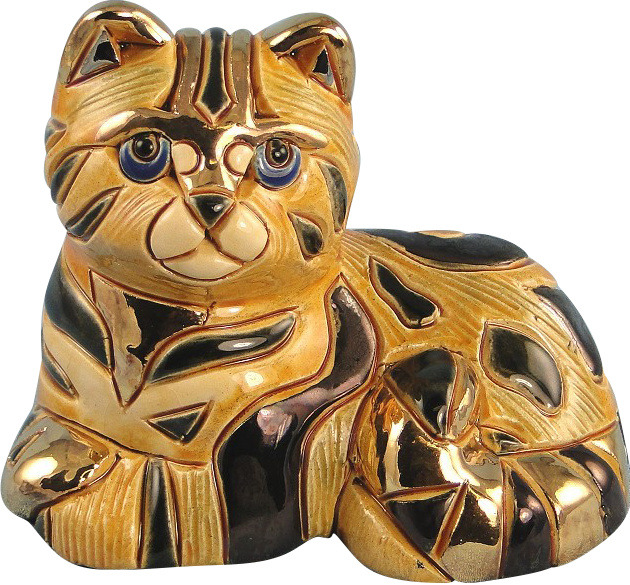 Artesania Rinconada 720C Tabby Cat RARE 2000 Club Piece Hand Carved Painted Ceramic w 24kt Gold & Platinum Made in Uruguay $52.99