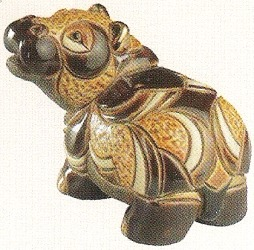 Artesania Rinconada F319 Hippo Baby Family Collection Ceramic w/ Gold & Platinum  $0.00