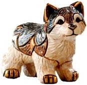 Artesania Rinconada F336 Wolf Baby Family Collection Hand Carved Painted Ceramic w 24kt Gold & Platinum Made in Uruguay $57.99