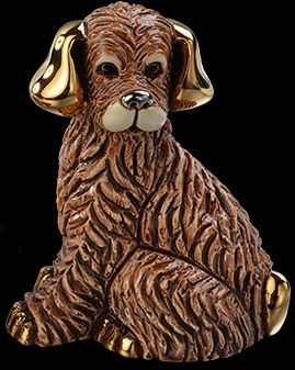 Artesania Rinconada F389 Dog Baby Brown Family Collection Hand Carved Painted Ceramic w 24kt Gold & Platinum Made in Uruguay $59.99