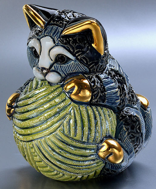 De Rosa Collections F393 Cat Kitten with Yarn Ball Striped
